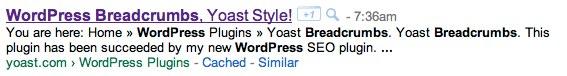 WordPress breadcrumbs as shown in Google