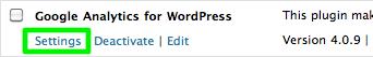 Google analytics for wordpress - Settings