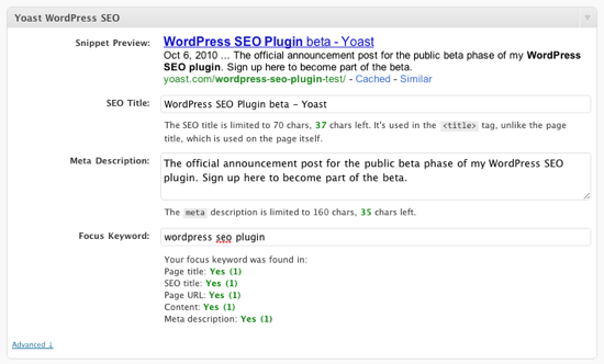 Post Meta settings in WordPress SEO