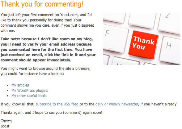 Commenting thank you page