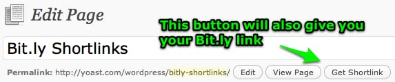 Get Shortlink button