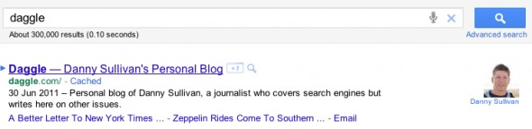 A Google Search for Daggle showing Danny Sullivan's Author Highlighting