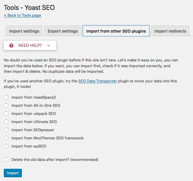 yoast seo all in one seo pack import