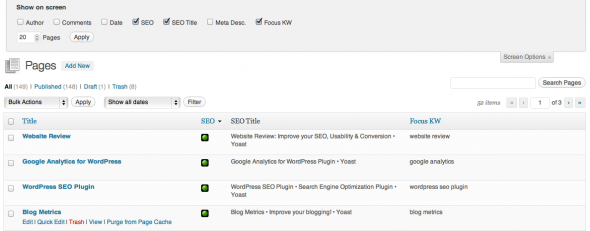 SEO Score in the pages overview
