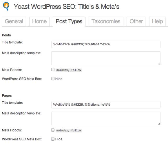titles meta settings for post types