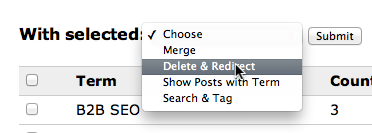 With selected tags, do the following: merge, delete & redirect, shows posts with term, search & tag