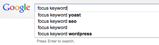 The suggest results for Focus keyword in Google Suggest