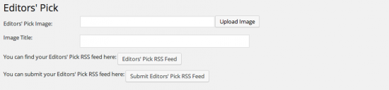 editors picks rss feed settings