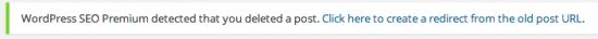 delete redirect notification