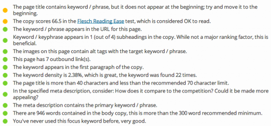 Page Analysis and the green bullet in WP SEO by Yoast