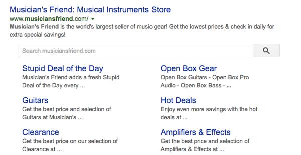 Caixa de pesquisa de sitelinks do Google