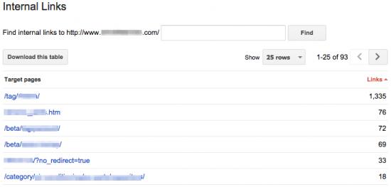 Google Webmaster Tools: Internal Links