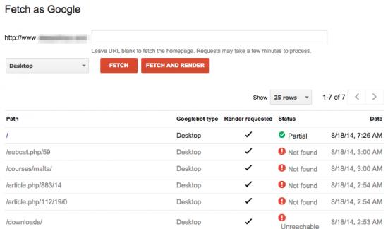 Google Webmaster Tools: Fetch as Google