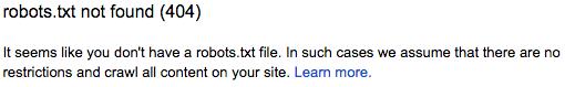 Google Webmaster Tools: No robots.txt