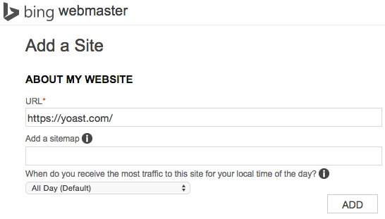 Bing Webmaster Tools - Add your site and sitemap