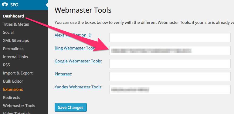 WordPress SEO Setting up Bing Webmaster Tools