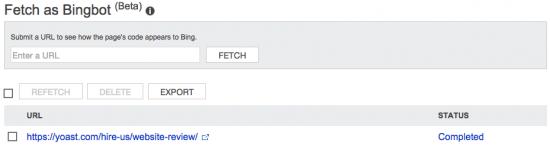 Bing Webmaster Tools: Fetch as Bingbot