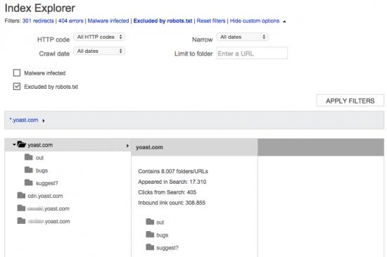 Bing Webmaster Tools: Index Explorer, robots.txt