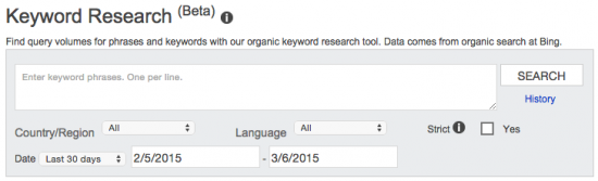 Bing Webmaster Tools: Keyword Research