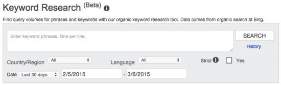 Bing Webmaster Tools: Keyword Research