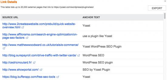 Bing Webmaster Tools: Link details