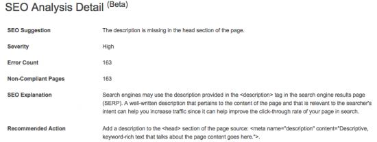 Bing Webmaster Tools: SEO Analysis Detail