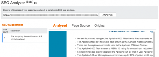 Bing Webmaster Tools: SEO Analyzer
