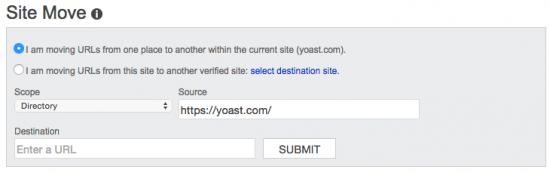 Bing Webmaster Tools: Site Move