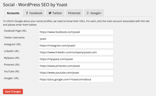 Social Profiles tab in WordPress SEO 2.0
