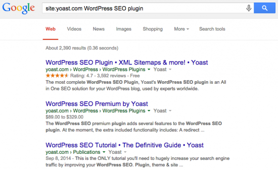 Using a search operator to find the best ranking page