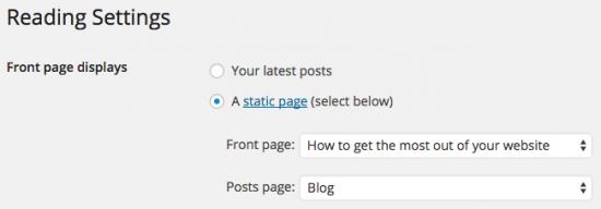 WordPress > Settings > Reading