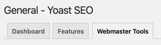 webmaster tools tab