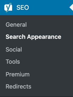 yoast seo menu search appearance
