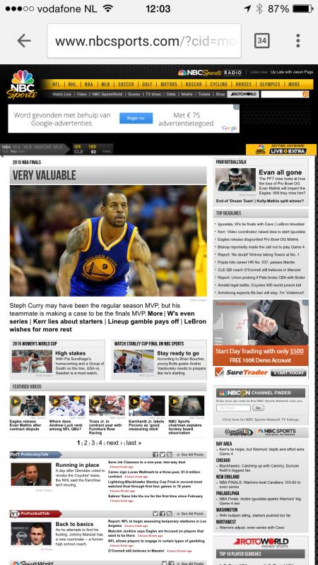 nbc sports mobile screenshot