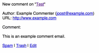 Screenshot of a clean comment email