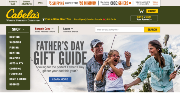 Internal search for online shops - Cabela's