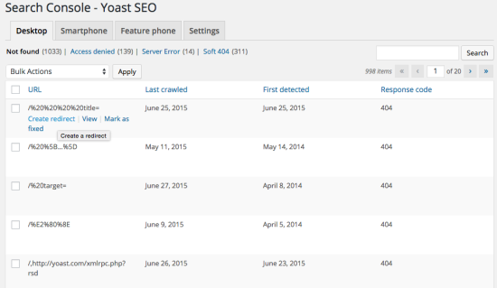 Yoast SEO Google search console integration screenshot