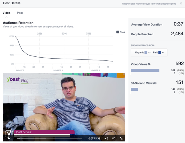 Facebook Page Insights: Video stats details
