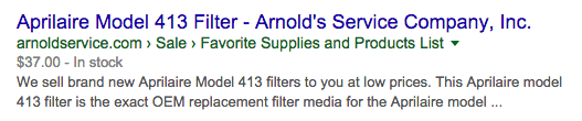 Product Page SEO: Arnoldservice.com in Google