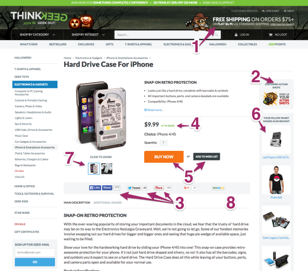 ThinkGeek Product Page UX