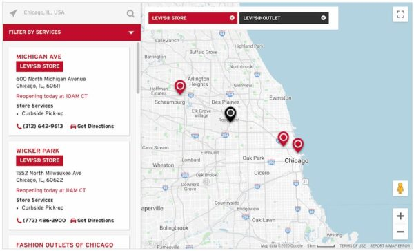 store locator on levis site