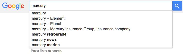 Google disambiguation results for Mercury