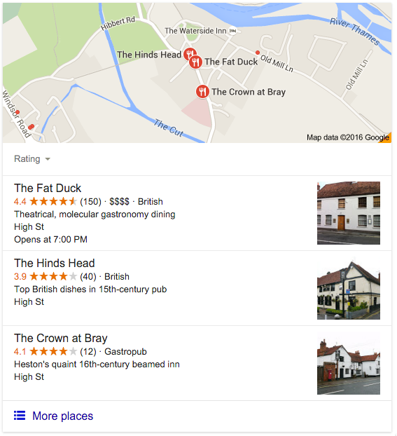 Restaurant website: Restaurant listing in Google, Fat Duck example