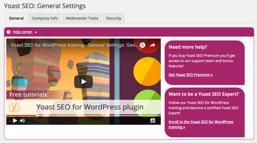 A screenshot of the help center in its expanded state, with a video explaining the features on the current tab.