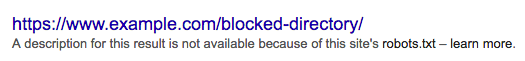 Screenshot of a result for a blocked URL in the Google search results