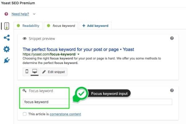 focus keyword input field Yoast SEO