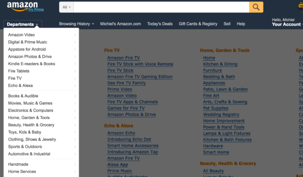 Shop category page: Amazon categories