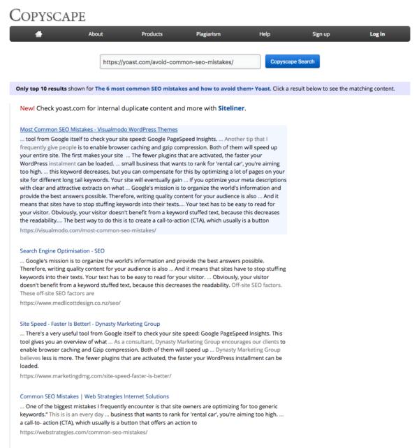 Résultats du vérificateur de contenu en double de copyscape