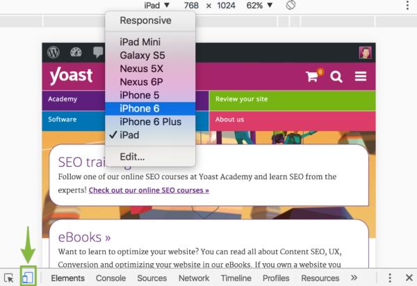Test your mobile website: browser inspector mobile