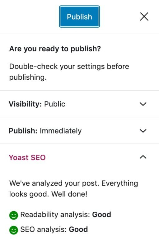 step 7 in this blog post checklist is to hit publish where you will get a final check before publishing